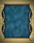 Gold background with a blue nameplate with gold pattern