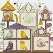 image of bird fence  - Houses for birds and flowers in vector - JPG