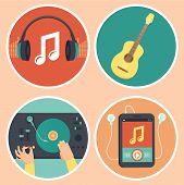 foto of guitar  - Vector music icons and signs in flat style  - JPG
