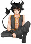 picture of taurus  - Manga style illustration of zodiac symbol - JPG
