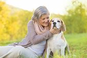 stock photo of dog-walker  - Senior woman hugs her beagle dog in countryside - JPG