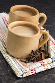 foto of darjeeling  - Masala chai with herbs and spices. spicy tea