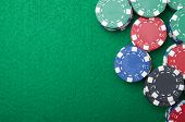 background formed for casino chips on a green felt