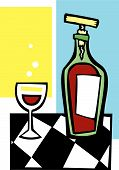 picture of wine-glass  - Space age retro styled wine bottle and glass - JPG
