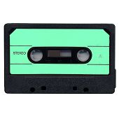 stock photo of magnetic tape  - Magnetic tape cassette side A for audio music recording isolated over white background - JPG
