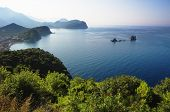 coast between Budva and Bar, Montenegro. In the bay are two islets called Katic and Sveta Nedjelja