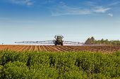 stock photo of pesticide  - A large agricultural sprayer with wide booms spraying a field of potatoes in rural Prince Edward Island - JPG
