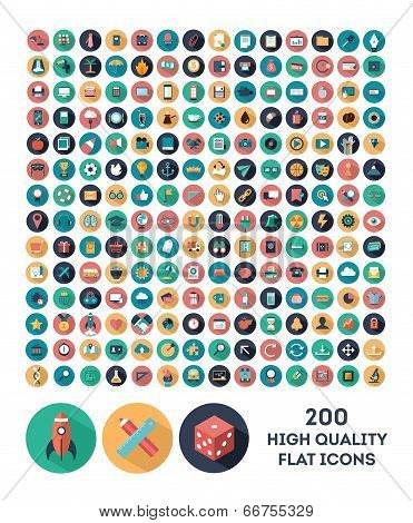 200 high quality vector flat icons poster
