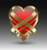 picture of embellish  - Elegant metallic heart embleme with embellishment for creative design - JPG