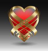 foto of embellish  - Elegant metallic heart embleme with embellishment for creative design - JPG