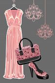 pic of pink shoes  - The composition of pink silk party dress handbag and high heeled shoes with Paisley pattern - JPG