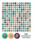 stock photo of science  - set of 200 high quality vector flat icons - JPG