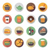 stock photo of porridge  - Collection of food icons in flat design style - JPG