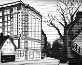 stock photo of public housing  - The black and white public drawing on a wooden house wall in Portland  - JPG