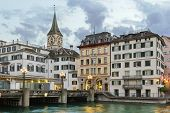 picture of zurich  - embankment of Limmat river with view of St - JPG