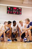 picture of netball  - Male High School Volleyball Team Having Team Talk From Coach - JPG