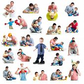 stock photo of baby cat  - Babies and kids collage with dads - JPG