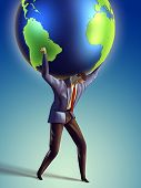 picture of take responsibility  - Businessman takes the Earth on its shoulders - JPG