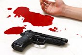 foto of gun shot wound  - concept shot of the crime scene of shooting - JPG
