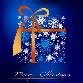 picture of keepsake  - Christmas blue background with gift - JPG