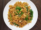 stock photo of chinese restaurant  - Chinese fried rice with pork and green leek vegetable - JPG
