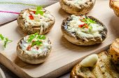 picture of portobello mushroom  - Grilled mushrooms stuffed with blue cheese and chilli and garlic toast - JPG