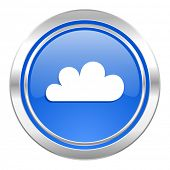 cloud icon, blue button, waether forecast sign  poster