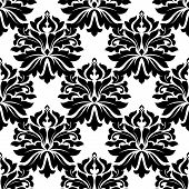image of dainty  - Black classic damask floral seamless pattern with dainty flowers on white background - JPG