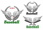 image of baseball bat  - Baseball emblems with angel wings - JPG