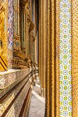 stock photo of stature  - Details of Wat Phra Kaew Temple of the Emerald Buddha Bangkok Thailand - JPG