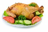 picture of spit-roast  - Roast Chicken on dish - JPG