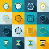 image of sand timer  - Alarm clock old sand watch stopwatch timer icons flat set isolated vector illustration - JPG