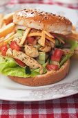 image of fried chicken  - Chicken salad burger with french fries and fresh vegetables - JPG