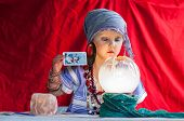 foto of fortune-teller  - little child plays to be a fortune teller