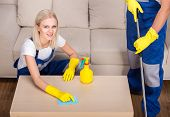 stock photo of house cleaning  - Portrait of woman is doing some cleaning work in the house - JPG