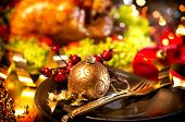 foto of roast duck  - Christmas table setting with turkey - JPG