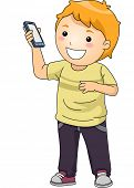 stock photo of handphone  - Illustration of a Little Boy Showing His Smartphone - JPG