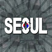 stock photo of won  - Seoul flag text on Won sunburst illustration - JPG