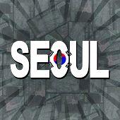 image of won  - Seoul flag text on Won sunburst illustration - JPG
