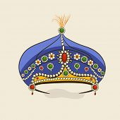 image of pageant  - Beautiful decorative stylish blue crown isolated on beige background - JPG