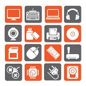 stock photo of peripherals  - Silhouette Computer peripherals and accessories icons  - JPG
