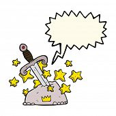 picture of arthurian  - cartoon magical sword in stone with speech bubble - JPG