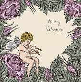 stock photo of cupid  - Valentine retro vintage card with cupid and roses - JPG