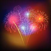 stock photo of firework display  - vector fireworks Display for new year and all party - JPG