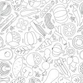 stock photo of gourmet food  - Vector seamless pattern with different vegetables - JPG