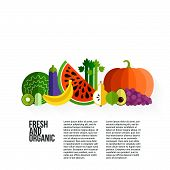 foto of vegetable food fruit  - Healthy eating vector concept with flat fruits vegetables and copyspace - JPG