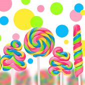 foto of lolli  - Fantasy sweet candy land with lollies on white background - JPG