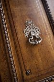picture of wrought iron  - Wrought iron knocker of a stylish French house - JPG