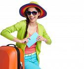 foto of boarding pass  - Portrait of female tourist with travel suitcase and blue boarding pass - JPG