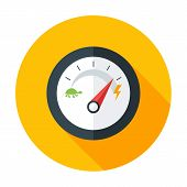 stock photo of speedometer  - Slow and Fast Speedometer Flat Circle Icon with long Shadow - JPG